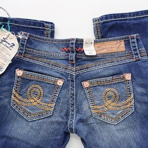 Seven7 Embroidered Low Rise Jeans Dark Blue Sz 25